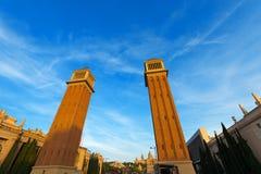 Венецианские башни - Барселона Испания Стоковое фото RF