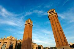 Венецианские башни - Барселона Испания Стоковые Изображения RF