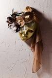 Венецианские маски на старой стене Стоковые Изображения RF