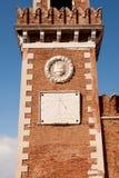 Венеция, башня с часами арсенала, солнечные часы Стоковое Изображение