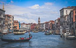Венеция - большой канал - Ponte Di Rialto стоковое фото rf