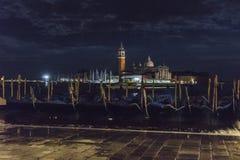 Венеция в Италии на ноче, гондолах и острове Lido Стоковые Фотографии RF