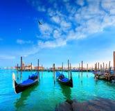 Венеция, гондолы, Сан Giorgio Maggiore Италия Стоковые Изображения RF