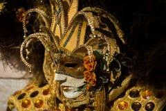 Венеция - 6-ое февраля 2016: Красочная маска масленицы через улицы Венеции Стоковая Фотография