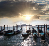 Венеция с гондолами в Италии Стоковое Изображение RF