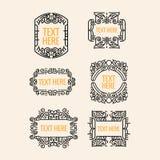 Вензель, рамка, граница, значок и ярлык вектора классического битника стиля Арт Деко роскошного минимального геометрические винта Стоковое Изображение