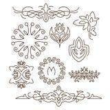 Вензеля, линия элементы дизайна для логотипов, рамок иллюстрация штока