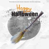 Веник ведьмы акварели нарисованный рукой Иллюстрация штока