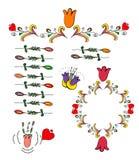 Венки вектора флористические и элементы doodle, иллюстрация, украшение стоковое фото