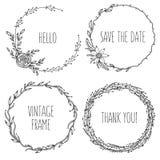 Венки года сбора винограда вектора Собрание ультрамодное милого Стоковые Фотографии RF
