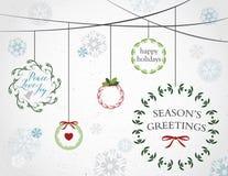 Венки и снежинки праздника Стоковые Изображения