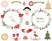 Венки рождества и элементы дизайна Иллюстрация вектора