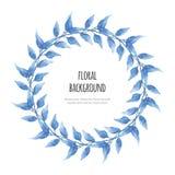 Венок акварели красивый флористический выходит с иллюстрацией вектора бесплатная иллюстрация