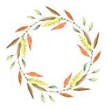 Венок акварели осени Листья, branchs и цветки стоковое фото rf