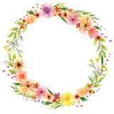 Венок акварели флористический в живых цветах стоковые фотографии rf