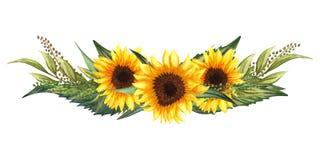 Венок акварели флористический с солнцецветами, листьями, листвой, ветвями, листьями папоротника и местом для вашего текста иллюстрация вектора