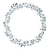 Венок акварели вегетативный, формирует круг Стоковое Изображение