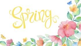 Венок акварели красочных цветков Стоковая Фотография