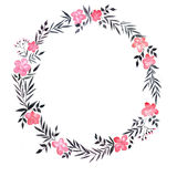 Венок акварели с розовыми цветками Стоковые Изображения RF