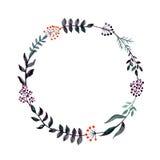 Венок акварели темный флористический с красными и фиолетовыми ягодами бесплатная иллюстрация