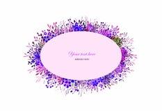 Венок акварели флористический Естественная рамка на белой предпосылке Художническая иллюстрация вектора Стоковые Изображения RF