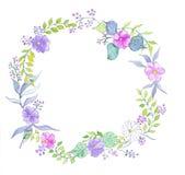 Венок акварели цветка Стоковые Изображения