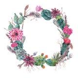 Венок букета цветков с кактусом, succulen бесплатная иллюстрация