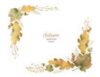 Венок вектора акварели листьев и ветвей изолированных на белой предпосылке иллюстрация штока