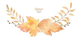 Венок вектора акварели листьев и ветвей изолированных на белой предпосылке Стоковое Фото