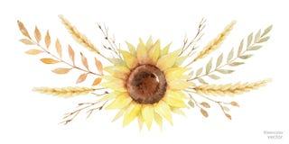 Венок вектора акварели листьев и ветвей изолированных на белой предпосылке Стоковая Фотография