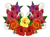 венок вектора Валентайн роз s изображения дня Стоковые Изображения
