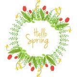 Венок вектора весны флористический Стоковые Фото