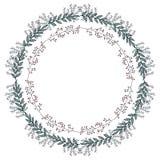Венок вектора с декоративными флористическими doodles бесплатная иллюстрация
