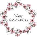 Венок вектора флористический цветов пинка и белых для приветствий дня St Валентайн иллюстрация штока