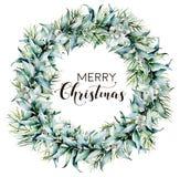 Венок веселого рождества акварели с эвкалиптом Рука покрасила границу ели с листьями и ветвями эвкалипта, белыми иллюстрация вектора