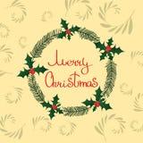 Венок веселого рождества с хворостинами, заводами, падубом иллюстрация штока