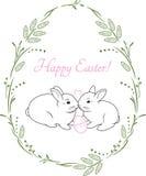 Венок весны с 2 милыми кроликами Винтажный дизайн для карточки пасхи Стоковые Изображения RF