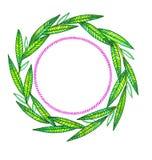 Венок ветвей нарисованных вручную на белизне Стоковое Изображение