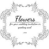 Венок ветвей wildflowers изолированных на белой предпосылке Элементы дизайна рамки Foral для приглашений, поздравительных открыто стоковое фото rf