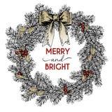 Венок ветви сосны вектора нарисованный рукой Украшение дома Christmass Весело и ярко Tassels и смычок падуба иллюстрация штока