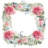 Венок винтажных розовых роз на белой предпосылке иллюстрация штока