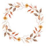 Венок гирлянды цветка падения акварели осени покрашенный рукой флористический Стоковое фото RF