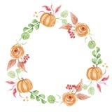 Венок гирлянды цветка падения акварели осени тыквы покрашенный рукой флористический Стоковое Фото