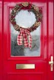 венок двери рождества красный Стоковое Изображение