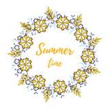 Венок летнего времени флористический Стоковое Изображение