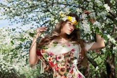 венок женщины цветка стоковые изображения