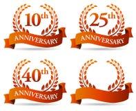 Венок знамени годовщины иллюстрация вектора