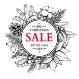 Венок знамени продажи рождества Острословие иллюстрации вектора нарисованное рукой иллюстрация штока