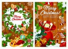 Венок, игрушки и подарки рождества иллюстрация штока