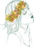 венок листьев девушки осени Стоковые Фотографии RF